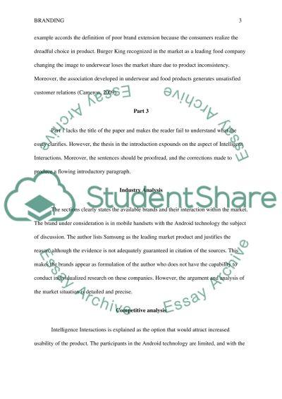 Branding Marketing Essay essay example