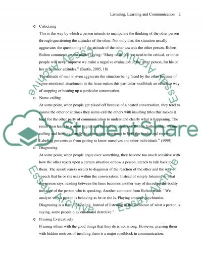 Listening, Learning and Communication essay example
