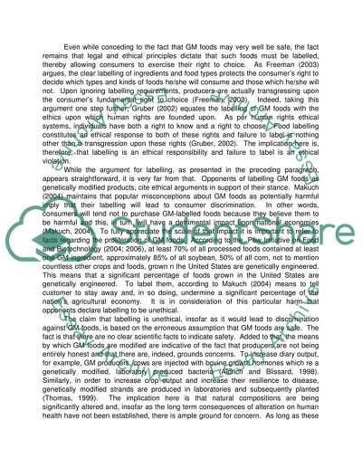 Genetically Modified Foods College Essay