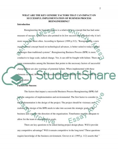 successful implementation & methodology Essay example