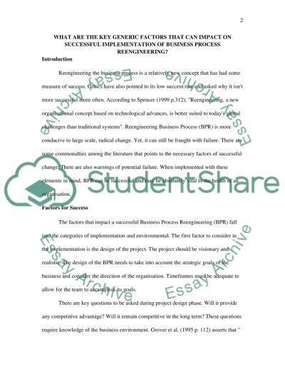 Successful implementation & methodology essay example