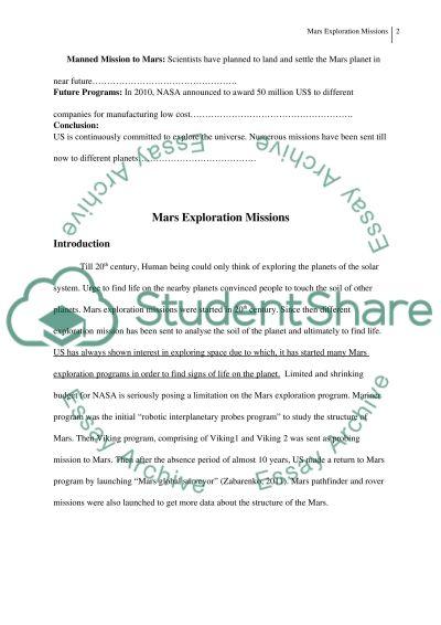 nasa mars missions essay example