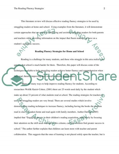 The Reading Fluency Strategies essay example