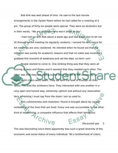 Observation Of A Group Counselling Session essay example