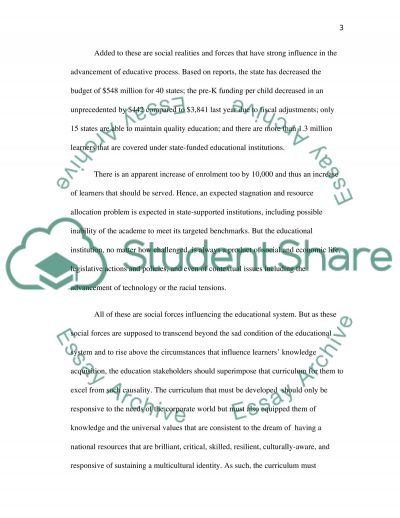 Social Forces Shaping Curriculum Planning essay example