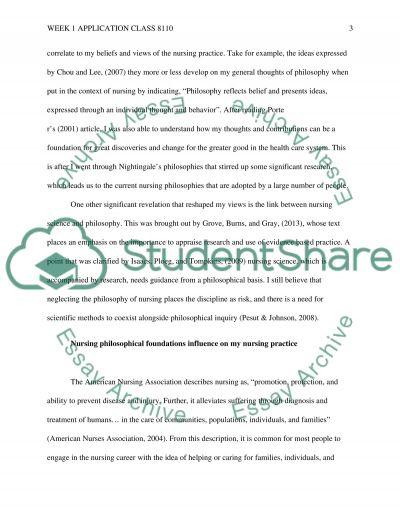 Application week 1 class 8110 essay example