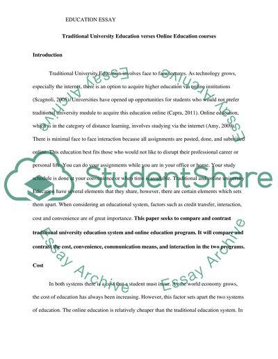 Traditional University Education verses Online Education