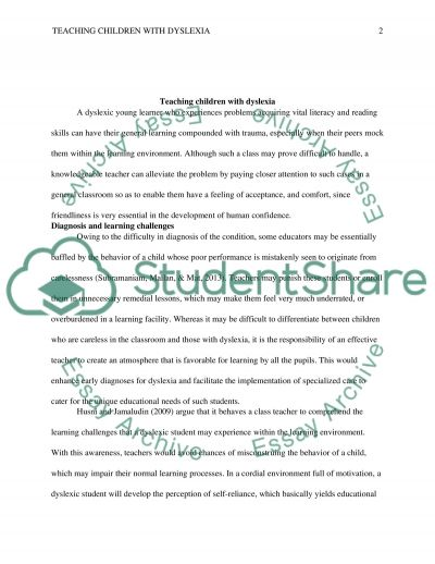 Teaching children with dyslexia essay example