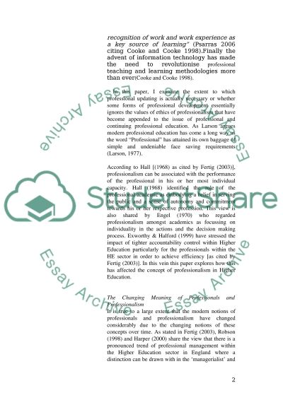 Professional Education Essay