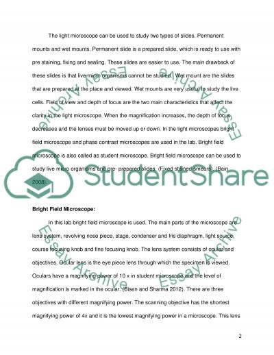 bio lab microscope report essay Essay ferm life cycle introduction: this essay will discuss the fern life cycle as taught in biology lab the essay will cover the basic process which we used to grow a fern i will dissecting microscope we looked to see if we could find anything germinating.