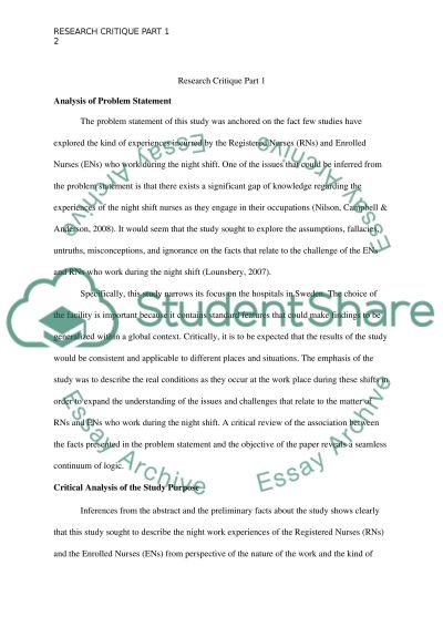 Nursing Research Critique essay example