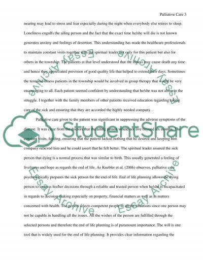 Reflective paper in PALLIATIVE CARE 260
