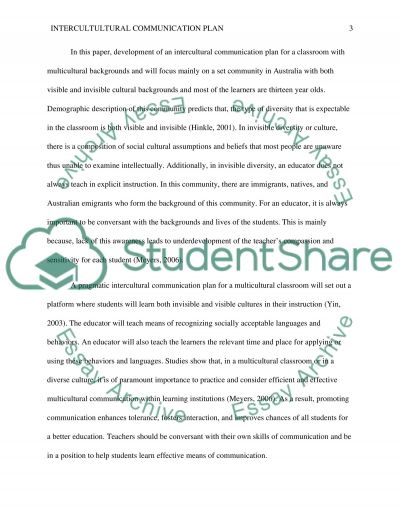 Intercultural Communication Plan for a Multicultural Classroom essay example