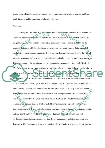 Single Sex Education vs Co-Education essay example