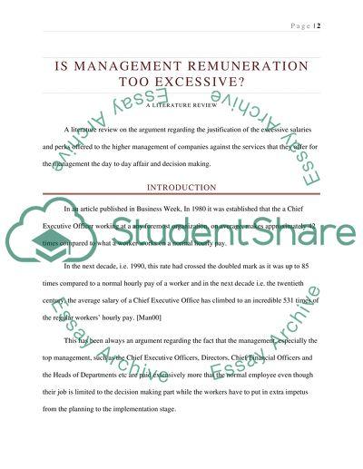 Is management remuneration too excessive