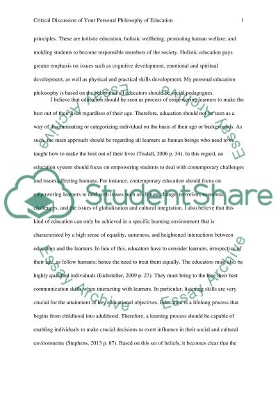 Reflective essay: critical discussion of your personal philosophy of education essay example