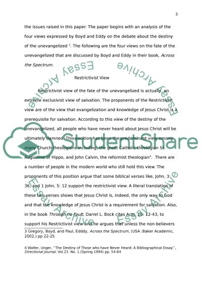 The Destiny of the Unevangelized Debate essay example