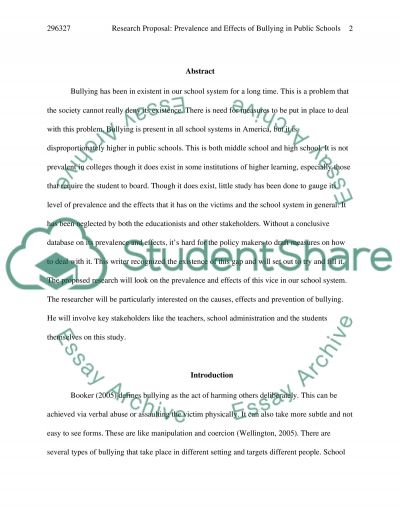 Prevalence and Effects of Bullying in Public Schools essay example