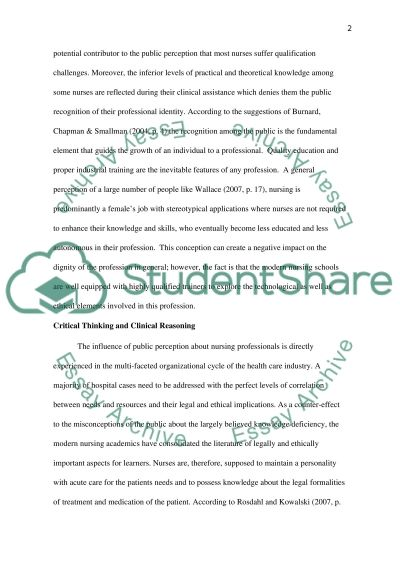 Public Perception of Nursing / Healthcare essay example