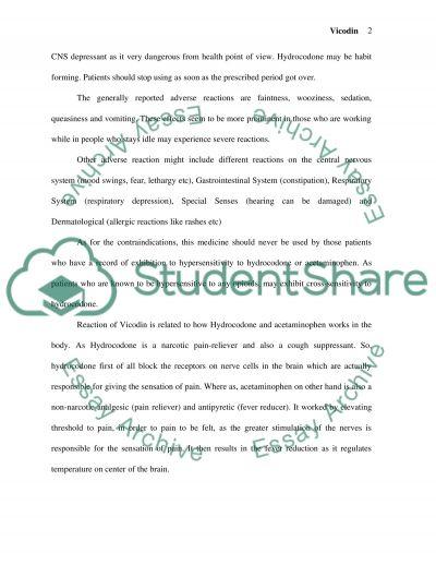 Hydrocodone (Vicodin) essay example