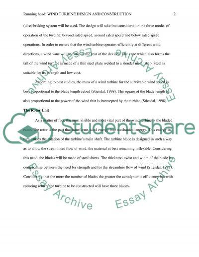 Wind Turbine Design and Construction essay example