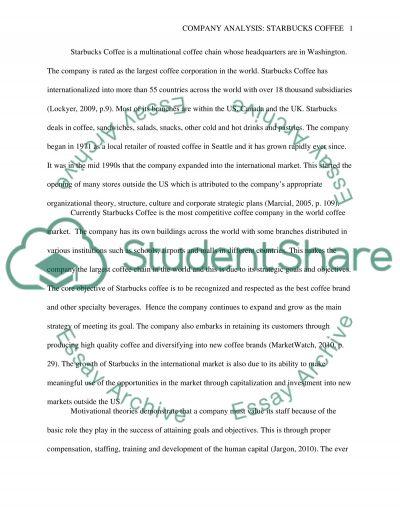 Company Analysis: Starbacks Coffee essay example