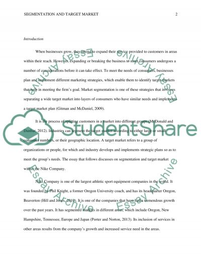 Segmentation and Target Market Paper essay example