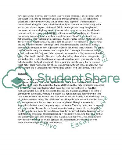 Mental Health Nursing Mental Status Exam on a mental health patient essay example