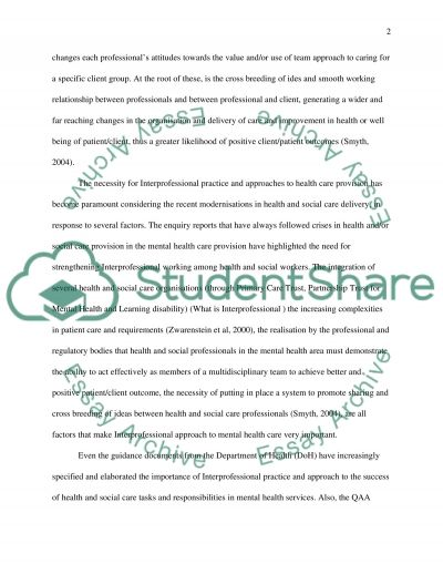 interprofessional working nursing essay Nursing / interprofessional working interprofessional working essay sample the whole doc is available only for registered users open doc pages: word count: 3801 category: nursing print this essay download essay get full essay get access to this section to get all help you need with your essay and educational issues  interprofessional.