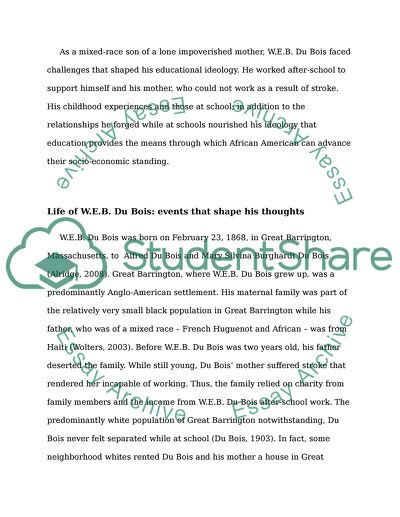 W.E.B. DuBois life and role in the history of education