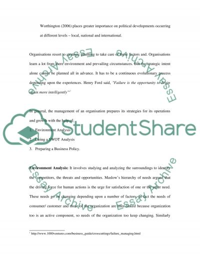 Organisations and thier environment essay example