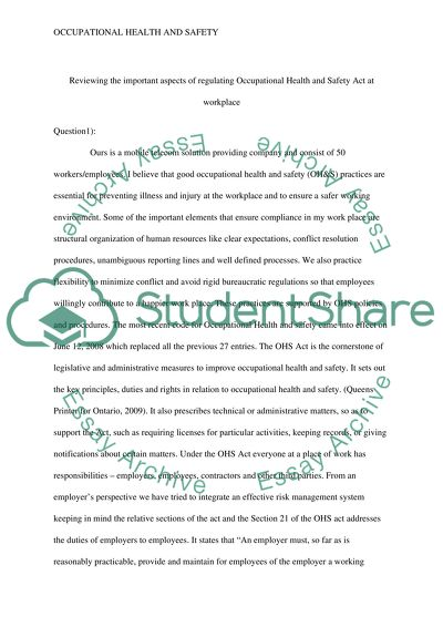essay on health and safety in schools