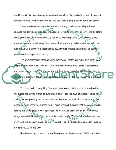 Apa Format Sample Essay Paper My First Car Business Studies Essays also Thesis Statement Examples For Narrative Essays My First Car Essay Example  Topics And Well Written Essays   Words Comparison Contrast Essay Example Paper