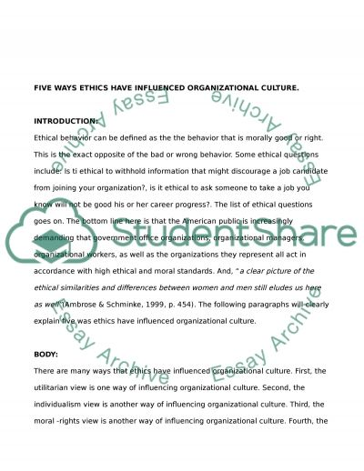 Ethics and Organizational Culture Essay example