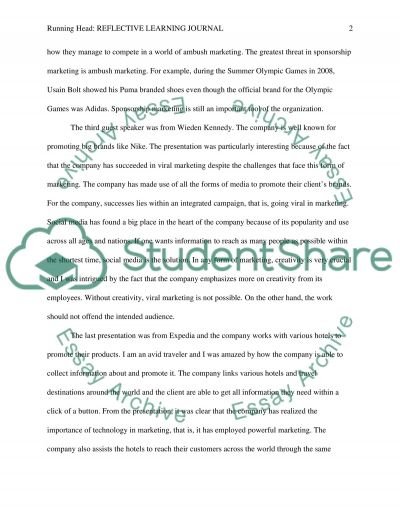 Reflective Learning Journal essay example