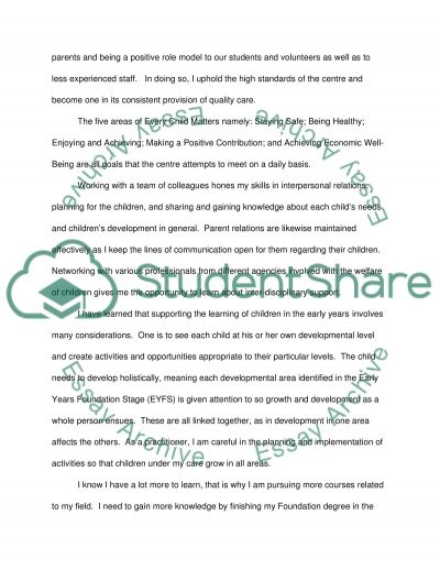 EZL 124 Supporting childrens learning in the early years essay example