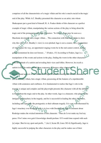 by essay othello play william Othello william shakespeare  suggested essay topics  at the beginning of the play, othello has such confidence in his skill with language that he can claim.