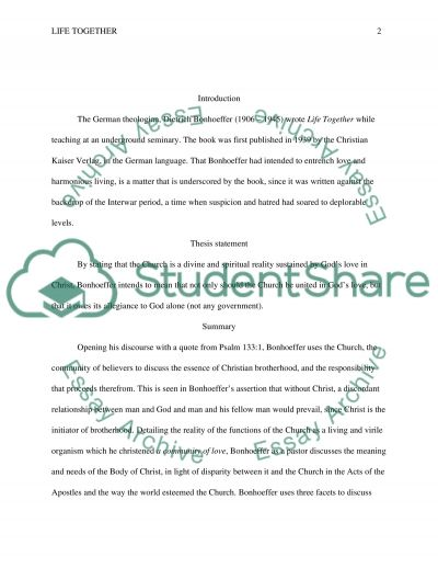 Religion and Theology Essay on Life Together by Bonheoffer essay example