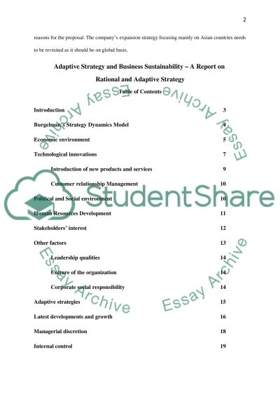 Adaptive Strategy and Business Sustainability essay example