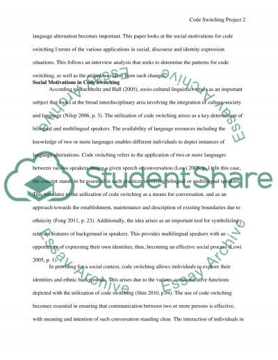 Code switching project essay example