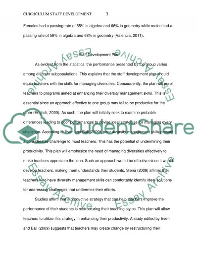 Curriculum Staff Development Plan
