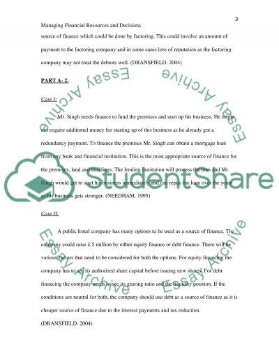 Manging Financial Resources and Decisions essay example