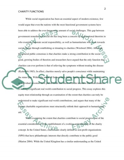 CHARITY FUNCTIONS essay example