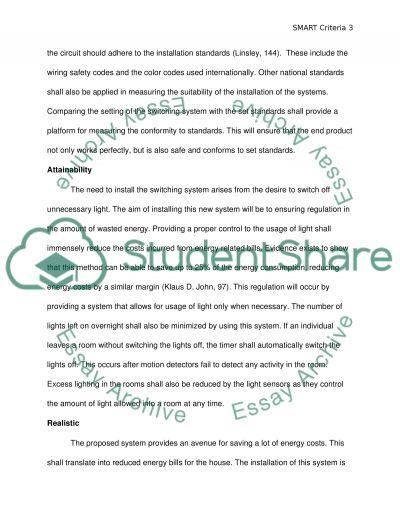 SMART criteria essay example