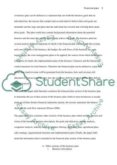 Financial Plan essay example