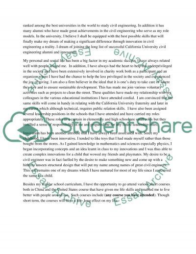 Uc civil engineering transfer student personal statement