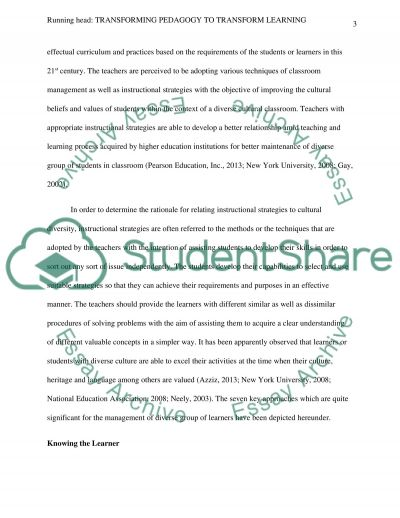 Transforming Pedagogy to Transform Learning essay example