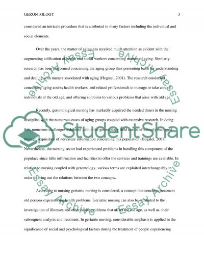 Gerontology Term Paper essay example