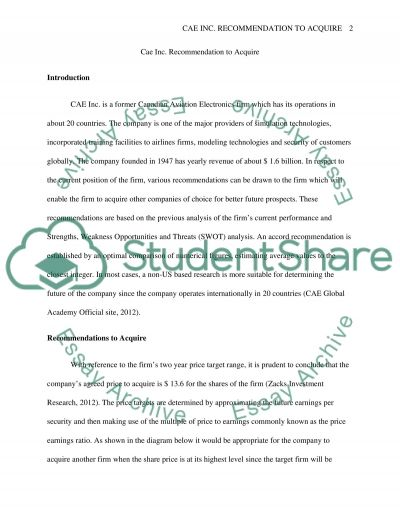 Cae Inc. Recommendation To Acquire Essay example