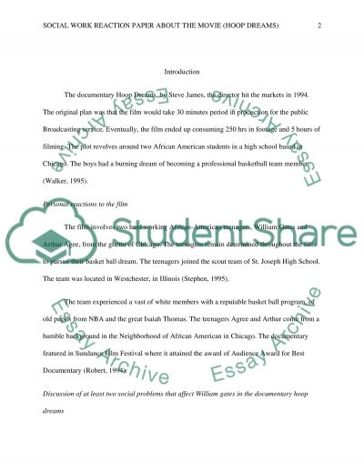 Social work reaction paper about the movie (hoop dreams)